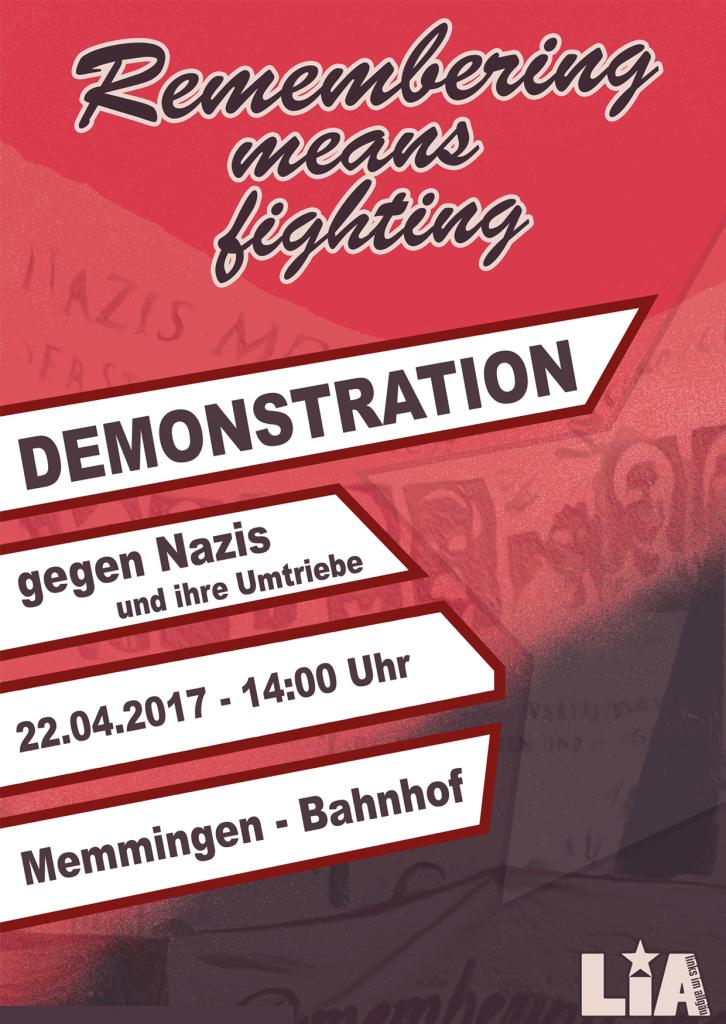 [Memmingen] 22.4. Demo: Remembering means fighting - gegen Nazis und ihre Umtriebe